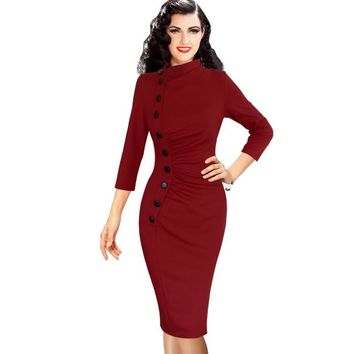 Vfemage Womens Autumn Winter Vintage Pinup Retro Rockabilly 3/4 Sleeve Button Ruched Pleated Work Party Wiggle Sheath Dress 8430