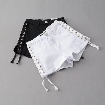 American Apparel Fashion Casual Side Crisscross Bandage High Waist Denim Shorts Hot Pants Jeans
