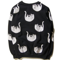 Winter new tide brand cat sweater men and women with the coat middle finger cotton cat head sweater