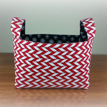Candy Cane with White Snowflake ~ Medium Fabric Basket Storage Bin