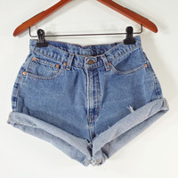 HIGH WAISTED Denim Shorts - Vintage High Waist Jean Shorts - SIZE 9 / 10