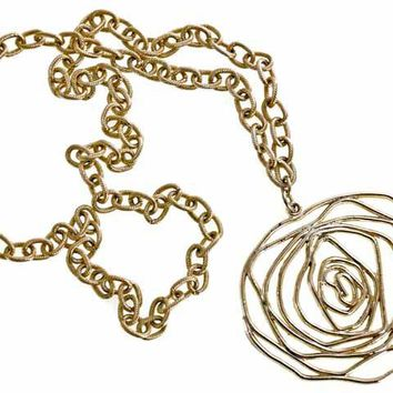 Vintage Stylized Golden Rose Pendant Necklace Large 1960s