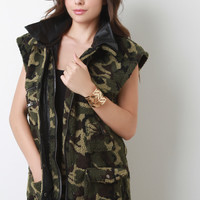 Camouflage Shearling Vest
