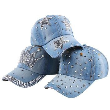 DCCKU62 new style girl women woman beautiful crown shaped outdoor casual denim luxury fitted baseball caps rhinestone snapback hats