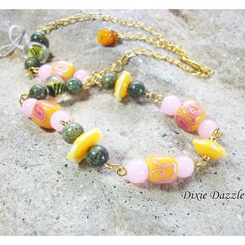 Tutti Fruitti lampwork bead necklace, pastel jewelry, summer necklace, playful jewelry, springtime, lamp work beads,  pink necklace