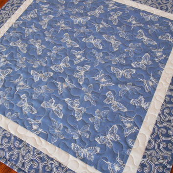 Quilted Butterfly Table Topper, Blue and White Butterflies, Square Table Mat