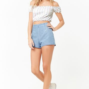 Floral Lettuce-Edge Crop Top
