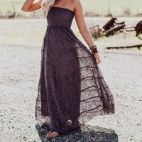 Primrose Lace Strapless Maxi Dress - Midnight