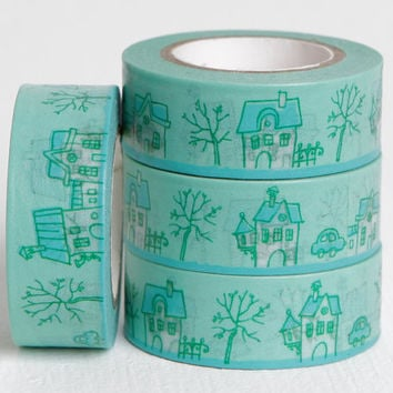 Teal English Village Washi with Topsy Turvy Little Houses, Trees, Fence, and Cars, Darling Dreamy Town, 15mm