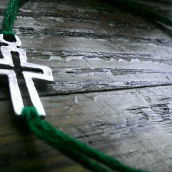 Cross Bracelet with Hunter Green band