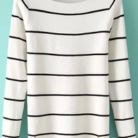 White Striped Long Sleeve Knit Sweater