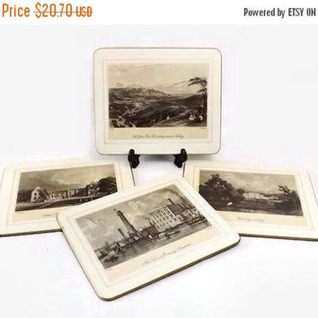 ON SALE - Hardboard Placemats, Saks Fifth Avenue, Set of 4, Victorian British Building Landscape Scenes, Vintage Place Mats, Made in England