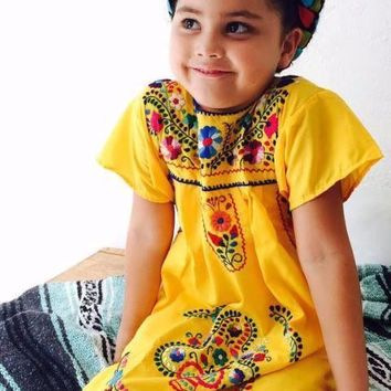 Mexican Dress for Girls Yellow