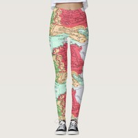 Vintage map of Europe Pattern in Coral and Mint Leggings