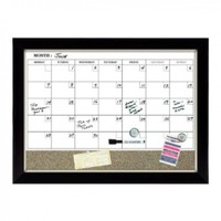 Quartet Magnetic Combination Calendar Board, Dry-Erase and Cork, 17 x 23 Inches, Two-Tone Frame (22476)