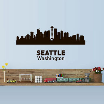 Wall Vinyl Sticker Decals Decor Art Bedroom Design Mural Words Sign Town City Skyline Seattle Washington (z3041)