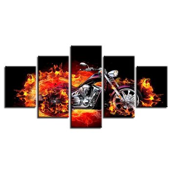 5 Pieces Flamed Flames Motorcycle Tank Fenders Bike Fire Wall Art Canvas Print