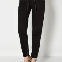 Black Faux Leather Accent Twill Jogger | Joggers | rue21