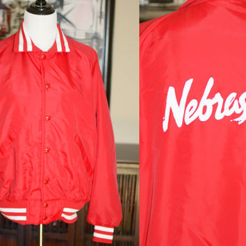 Estate Sale Find Vintage Pla Jac Dunbrooke Red Nylon Nebraska Jacket Large