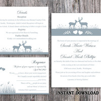 DIY Wedding Invitation Template Set Editable Word File Download Printable Reindeer Invitation Gray Wedding Invitation Blue Invitations