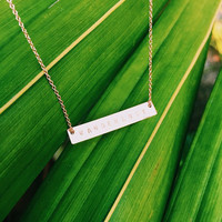 WANDERLUST Handmade Hand Stamped 14k Gold Filled or Sterling Silver Horizontal Bar Necklace With Chain
