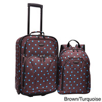 U.S. Traveler 2-Piece Polka Dot Carry-On Rolling Upright and Backpack Luggage Set