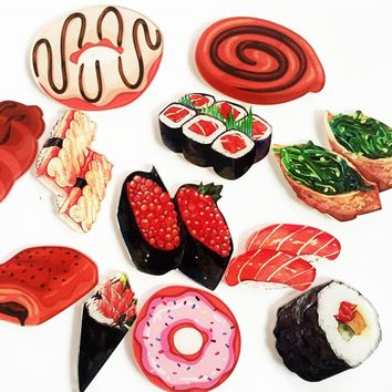 1PC Cartoon Cute Food Japanese cuisine Sushi Brooches Acrylic Brooches Badge Backpack Brooch Pins On Bag Clothing Decor Brooches