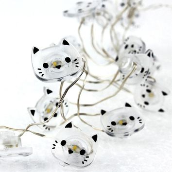 Cat Shape 20 LED String Light Supplies Battery Operated