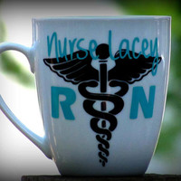 Personalized Nurse caduceus Mug, Gift for a nurse, Nurse Coffee Cup, RN Nurse, LPN, STNA, Nurse Gift, Medical Degree Graduation gift