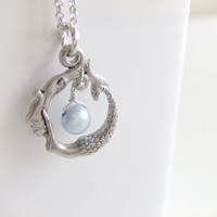 Silver Mermaid Jewelry Necklace, Blue Freshwater Pearl, Beach, Under the Sea, Gift for Her