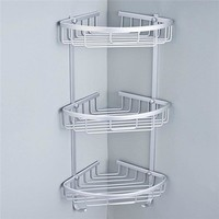 3 Sizes Space Aluminum Triangular Shower Caddy Shelf Bathroom Corner Rack Storage Stock Holder Basket Hanger