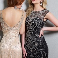2014 Jovani Cocktail Homecoming Beaded High Neckline Dress 98082