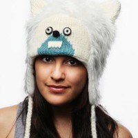 Knitwits Delux Yeti Pilot Animal Hat - White / Turquoise - Punk.com
