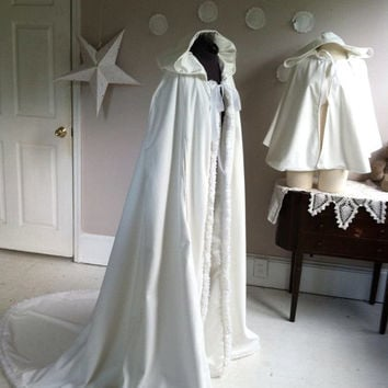 Bridal Cape Velvet or Wool, fully lined with hood and train