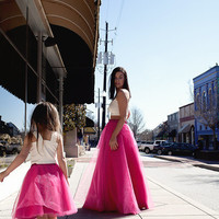 Long Tulle Skirt, Party Skirt. Tulle Skirt, Prom Skirt,Princess Skirt, Hot Pink Skirt, Mommy and Me Skirt