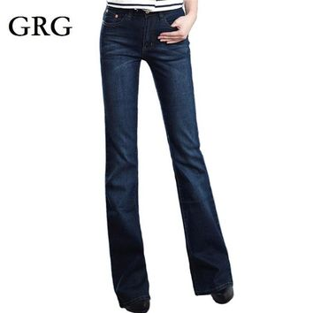 Promotion High quality Women's slim mid waist boot cut jeans fashion bell bottom trous