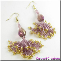 Crystal Tear Drop Coral Dangle Beadwork Seed Bead Earrings Lavender and Gold