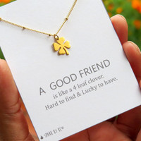 Clover Necklace - Silver or Gold Small Clover Charm - Friend gift necklace, whisper chain, lucky charm clover
