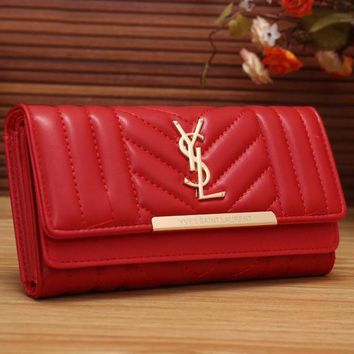 YSL Yves Saint Laurent Women Fashion Shopping Leather Buckle Wallet Purse-1