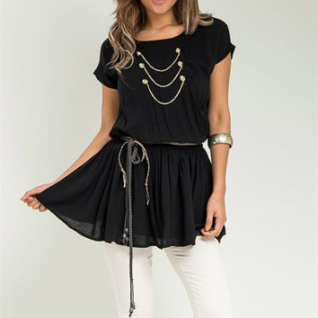 Short Sleeve Empire Waist Top with Belt in Black