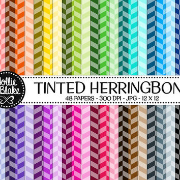 50% OFF! 48 Tinted Herringbone Digital Paper • Rainbow Digital Paper • Commercial Use • Instant Download • #HERRINGBONE-101-TINT