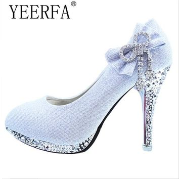YIERFA Wedding Shoes Butterfly-knot Bridal Shoes Rhinestone Lace Ladies Shoes High Heels Platform Women Pumps White Size 34-41
