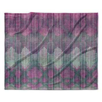 "Michelle Drew ""Vintage Ikat Pink"" Green Magenta Fleece Throw Blanket"