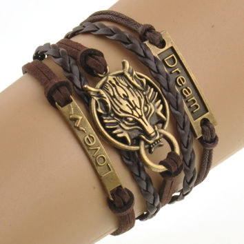 Charm Boho Wolf Style Brown Rope Chain Bracelet Men Jewelry Bracelets For Women Pulseras Mujer With Nameplate Free Shipping