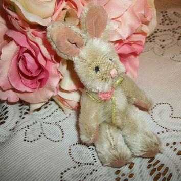 Rabbit Stuffed Animal Miniature Jointed Brown Bunny Craft Supply Easter Basket Stuffer Home Decor