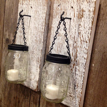 White barn wood mason jar candle holders