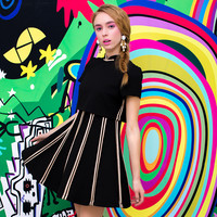 Casual Black Mandarin Collar Pleated Striped Mini Skater Dress