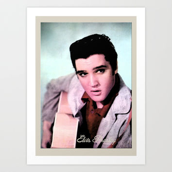 young Elvis Presley digital photo art.  the king of music, rock 'n' roll.  Art Print by PatternWorld