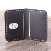 Personalized Leather Wallet - Bifold Credit Card Wallet - Minimalist Leather Card Holder - Groomsmen Gift