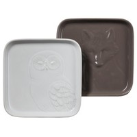 Threshold™ Owl and Fox Ceramic Appetizer Plate Set of 2